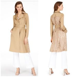 INC Tan Lace Back Belted Trench Coat Plus Size 0X